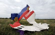 Wreckage of Malaysia Airlines flight MH17, on 18 July 2014 in eastern Ukraine, a day after the plane came down.