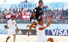 Tahiti players at the Beach Soccer World Cup.