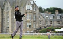 Ryan Fox tees off at the British Open.