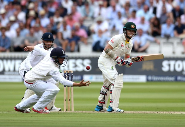 Gary Ballance fields off the batting of Chris Rogers during the second Ashes Test between England and Australia at Lord's