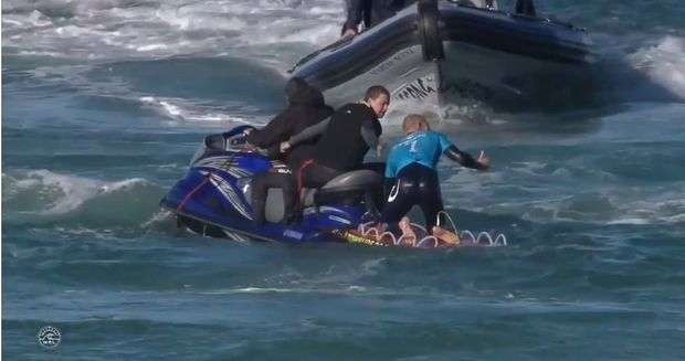 WSL footage shows Fanning being picked up by a support boat.