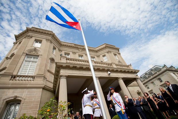 Cuba's flag is hoisted at the country's embassy in Washington DC.