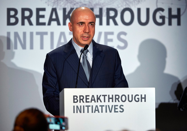 Yuri Milner at a media conference in London, where he and Stephen Hawking annouced the launch of the initiative.