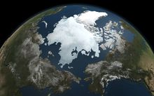 A picture by NASA's Aqua satellite taken on September 3, 2010 shows the Arctic sea ice. The Arctic Ocean's dynamic layer of sea ice that grows each winter and shrinks each summer, reaching its yearly minimum size each fall. The ice cools the planet by reflecting sunlight back into space.