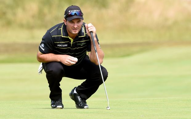 Ryan Fox lines up a putt in his final round at The Open at St Andrews