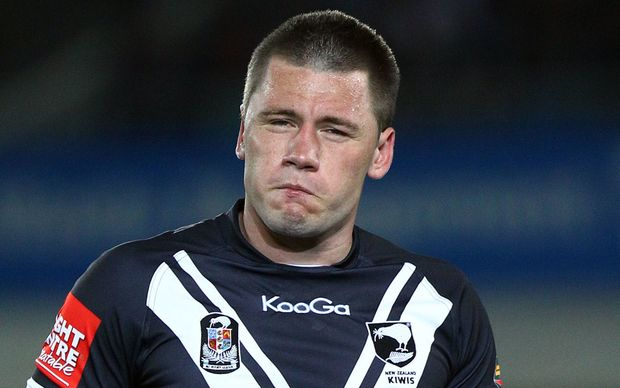 The Roosters NRL player Shaun Kenny-Dowall playing for the Kiwis.