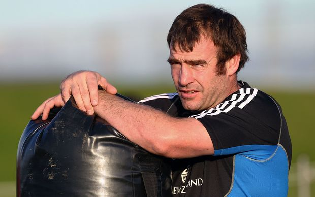 Andrew Hore in his professional playing days at an All Blacks training.