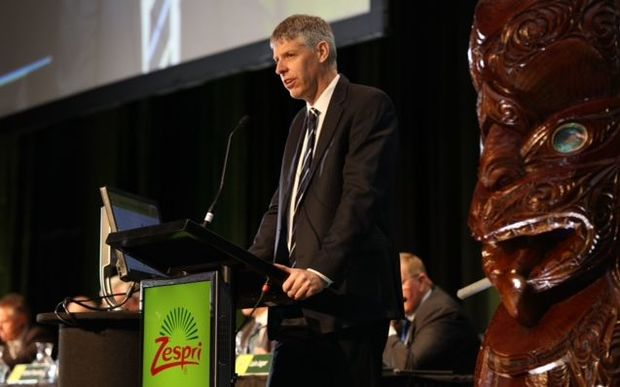 Zespri chief executive Lain Jager speaking at the kiwifruit marketer's 2015 AGM.