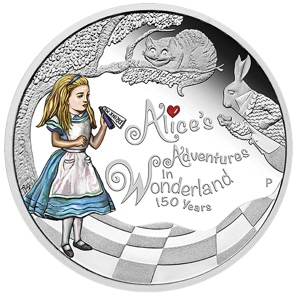 To celebrate the 150th Anniversary of Lewis Carroll's classic children's book, the Perth Mint has struck a colorized Alice's Adventures in Wonderland Silver Proof Coin. Bearing a denomination of $1, this .999 fine silver coin is legal tender on the island nation of Tuvalu.