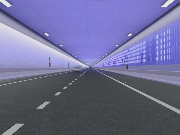 Motorists will pass through a total of 22 coloured zones inside the tunnel.