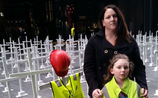 Deborah McMillan and her daughter Skylar, 8. Her husband Shane McMillan was killed in a forestry accident in 2009
