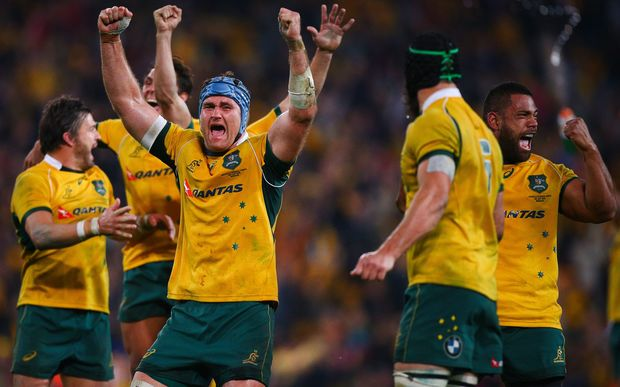 The Wallabies celebrate victory, 2015.