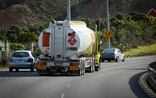 Petrol tanker leaving Wellington up the Ngauranga Gorge.