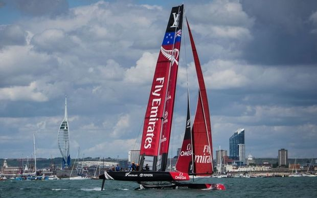 Team New Zealand sailing at the America's Cup World Series.