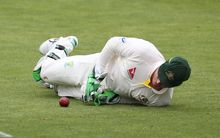 Australian wicketkeeper Brad Haddin drops Joe Root in first Ashes test in Cardiff in 2015.