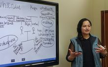 Te Reo o Taranaki tutor Te Ingo Ngaia teaches whanau relationships to a class of BDO accountants in New Plymouth.