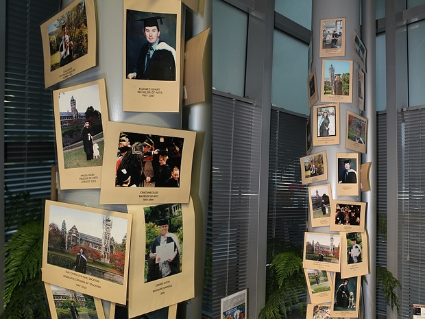 'The Column of Fame' in the reception area celebrates former graduates who have used the service.