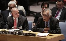 Niue premier Toke Talagi at UN security council meeting in New York 31 July 2015.