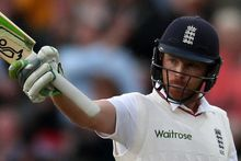 The England batsman Ian Bell celebrates his half-century during the third Ashes test at Edgbaston.