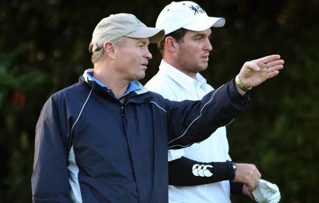 Ryan Fox and his caddie, father Grant, at the Trans-Tasman Cup, 2010.