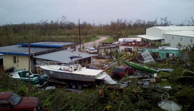 Initial damage from Typhoon Soudelor in Saipan