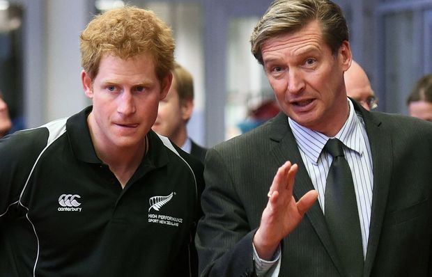 CEO of High Performance Sport NZ Alex Baumann (right) and Prince Harry take a tour of the AUT Millenium Institute in Auckland.