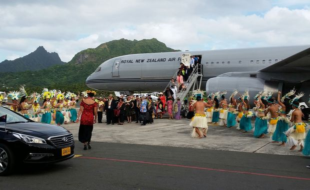NZ PM John Key lands in Rarotonga.