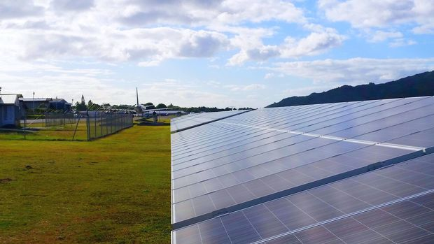New Zealand Aid funded mini solar farm in the Cook Islands.