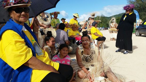 Cook Islands dancers at te maeva nui for the 50th anniversary of Cooks self governance