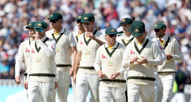 Australian cricketers after third Ashes Test loss Edgbaston 2015.