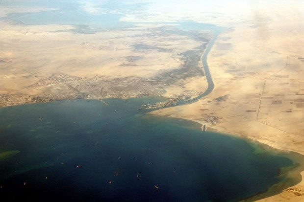 A picture dated on December 31, 2007 shows an aerial view of the southern entrance of Egypt's Suez Canal.