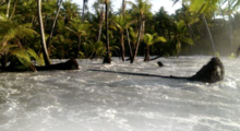 High tides in Kili Island, Marshall Islands, February 2015.