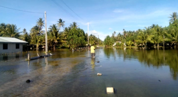 Flooding in a village of Kili Island, Marshall Islands, February 2015.