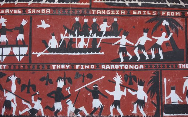 A mural illustrating the Polynesian settling of Rarotonga in the Cook Islands, on a wall at the country's main secondary school Tereora College