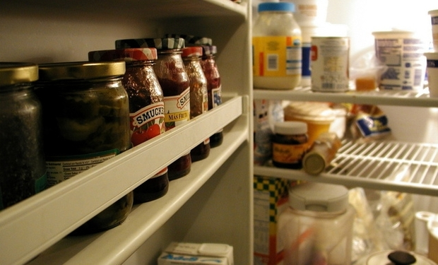 Inside a fridge.