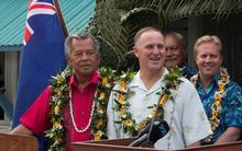 Prime Ministers Henry Puna and John Key at the 50th anniversary of self-government for the Cook Islands.  Rarotonga, August 2015