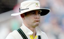 A disgruntled Michael Clarke leaves the field at Trent Bridge.