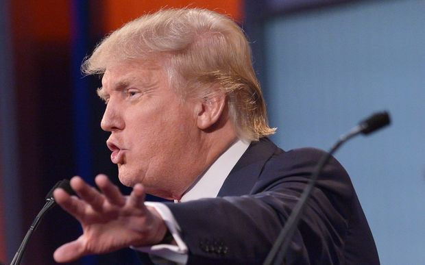 Real estate tycoon Donald Trump speaks during the Republican presidential debate on August 6, 2015 in Cleveland, Ohio.