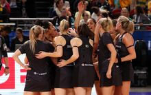 The Silver Ferns celebrate their win over Barbados in their Netball World Cup opener, Sydney, 7 August 2015
