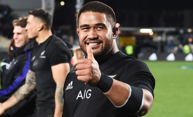 Nepo Laulala after the All Blacks' Rugby Championship victory over Argentina, 2015.