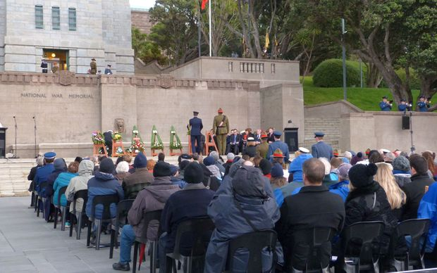The wreath laying ceremony at Pukeahu National War Memorial Park.