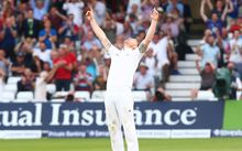 Ben Stokes of England celebrates as the English power their way to an Ashes series win.