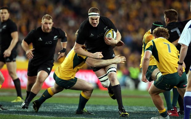 Brodie Retallick charges at the defence in the Test between the All Blacks and the Wallabies.