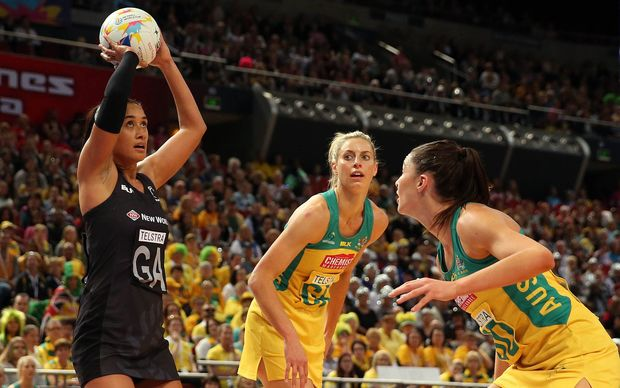 Maria Tutaia shoots for goal in the Silver Ferns' pool games against Australia.