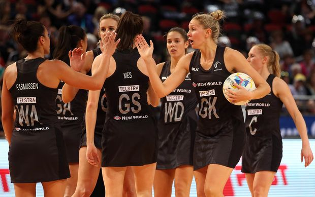 Casey Kopua leads the Silver Ferns from the court after their upset win over Australia.