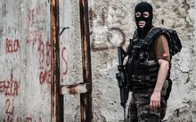 A Turkish special force police officer, during a series of attacks that targeted members of the sceurity forces.
