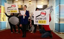 Members of TPP protest group 'Show Us Ya Text' at the Ministry of Foreign Affairs' Auckland office.