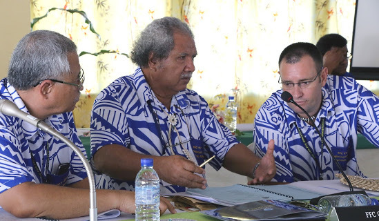 The director general of the  Pacific Islands Fisheries Forum Agency, James Movick, Tuvalu Minister Elisala Pita  and the Agency's deputy director general Wez Norris.