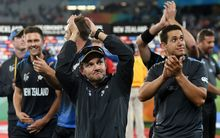 The Black Caps celebrate their nailbiting World Cup semi final win over South Africa at Eden Park.