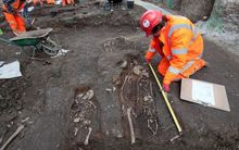 Archaeologists have excavated skeletons underneath Liverpool Street Station in London.